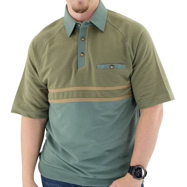 Classics by Palmland Horizontal French Terry knit Banded Bottom Shirt Sage - 6090-BL4 - bandedbottom