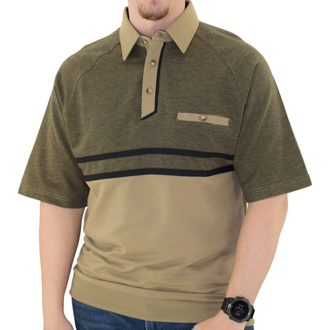 Classics by Palmland Horizontal French Terry knit Banded Bottom Shirt Taupe - 6090-BL4 - theflagshirt