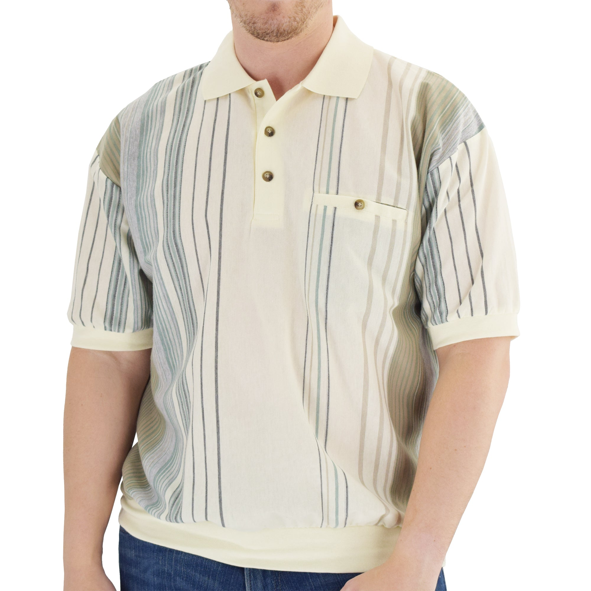 Classics by Palmland Short Sleeve Polo Shirt Big and Tall 6090-V2 - Natural - theflagshirt