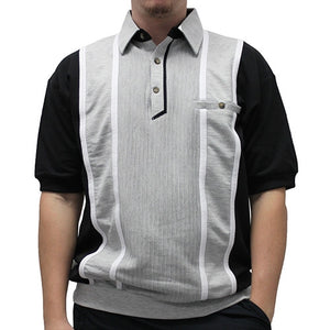 Classics By Palmland Short Sleeve Vertical Banded Bottom Shirt 6090BB-783 Black - theflagshirt