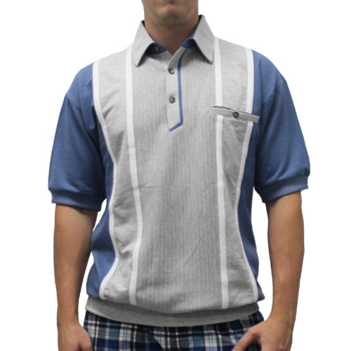 Classics By Palmland Short Sleeve Vertical Banded Bottom Shirt 6090BB-783 Navy - theflagshirt