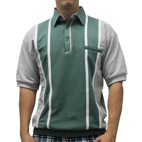 Classics By Palmland Short Sleeve Vertical Banded Bottom Shirt 6090BB-783 SAGE - theflagshirt