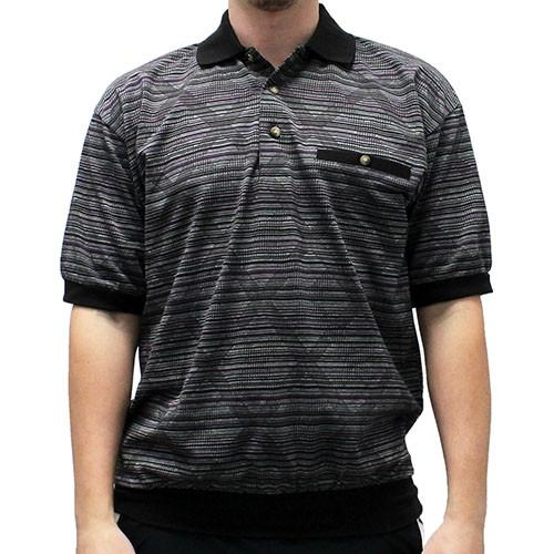 LD Sport Jacquard Short Sleeve Banded Bottom Shirt 6091-506 Big and Tall Black - theflagshirt
