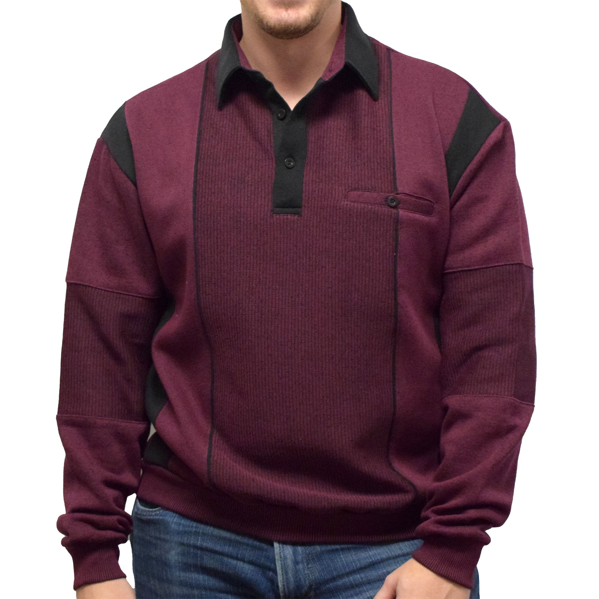 Classics by Palmland Two Tone Banded Bottom Shirt 6094-165B Wine