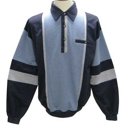 Palmland French Terry Long Sleeve Banded Bottom Polo Shirt 6094-262 Navy - bandedbottom