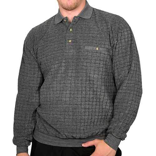 Palmland Long Sleeve French Terry Banded Bottom Polo Shirt Charcoal - bandedbottom