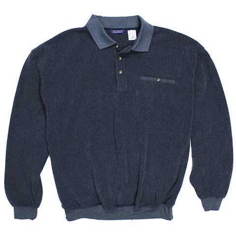 LD Sport French Terry Long Sleeve Banded Bottom Polo Shirt 6094-368 Navy - bandedbottom