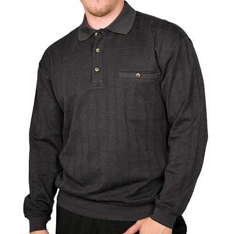 LD Sport Window Pane Textured Long Sleeve Banded Bottom Shirt 6094-460 Black - theflagshirt