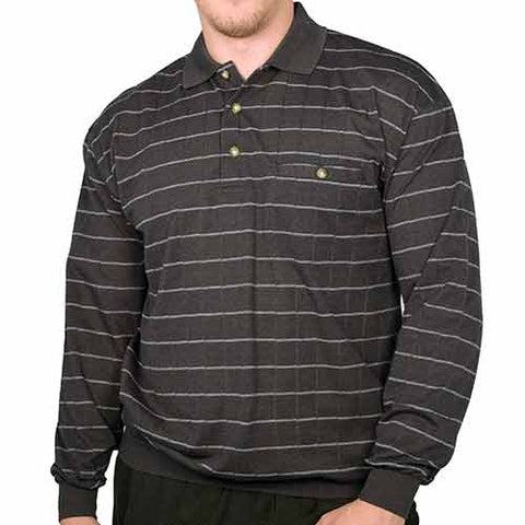 Palmland Jacquard Long Sleeve Banded Bottom Polo Shirt - 6094-462 Charcoal