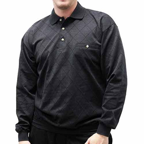 Palmland Jacquard Long Sleeve Banded Bottom Polo Shirt - 6094-463 Char