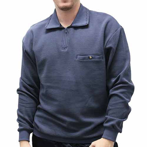 LD Sport Solid Textured Long Sleeve Banded Bottom Shirt 6094-700BT Big and Tall Dusty Blue - theflagshirt