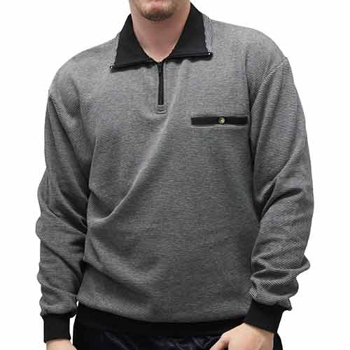 LD Sport Solid Textured Long Sleeve Banded Bottom Shirt 6094-700 Big and Tall Grey Hth - theflagshirt