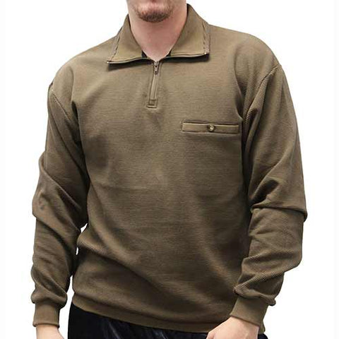 LD Sport Solid Textured Long Sleeve Banded Bottom Shirt 6094-700 Mocha
