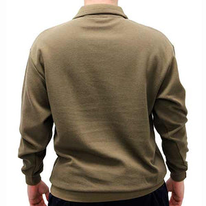 LD Sport Solid Textured Long Sleeve Banded Bottom Shirt 6094-700 Big and Tall Mocha - theflagshirt