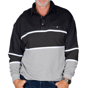 Classics by Palmland Horizontal Stripes Banded Bottom Shirt 6094-728 Big and Tall Black - theflagshirt