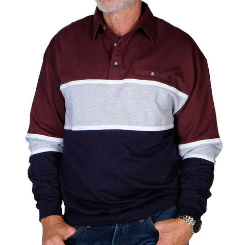 Classics by Palmland Horizontal Stripes Banded Bottom Shirt 6094-728 Burgundy - Big and Tall - theflagshirt