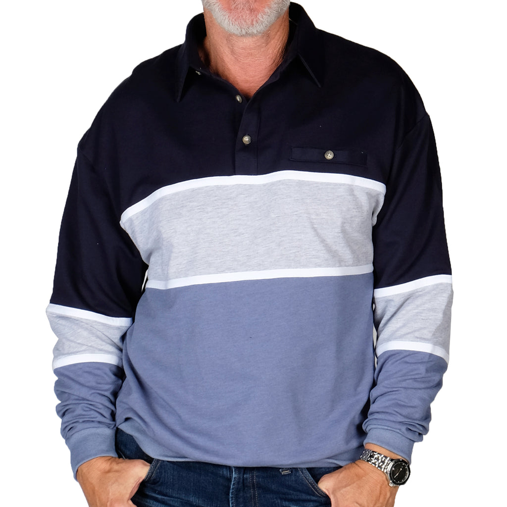 Classics by Palmland LS Horizontal Stripes Banded Bottom Shirt 6094-728 Navy - theflagshirt