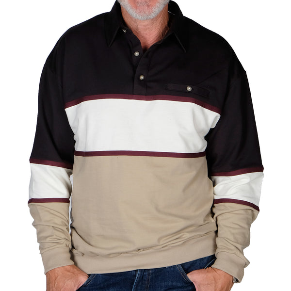 LD Sport Horizontal Stripes Banded Bottom Shirt 6094-728 Taupe - Big and Tall - theflagshirt