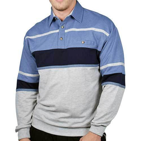 Classics by Palmland Horizontal Stripes Long Sleeve Banded Bottom Shirt 6094-736 Blue Heather - theflagshirt