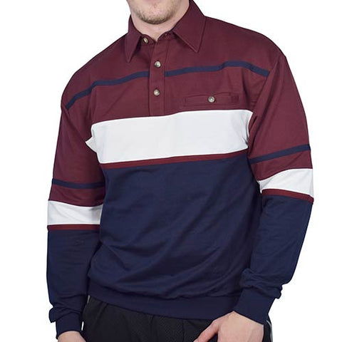 Classics by Palmland Horizontal Stripes Long Sleeve Banded Bottom Shirt 6094-736 Burgundy - theflagshirt