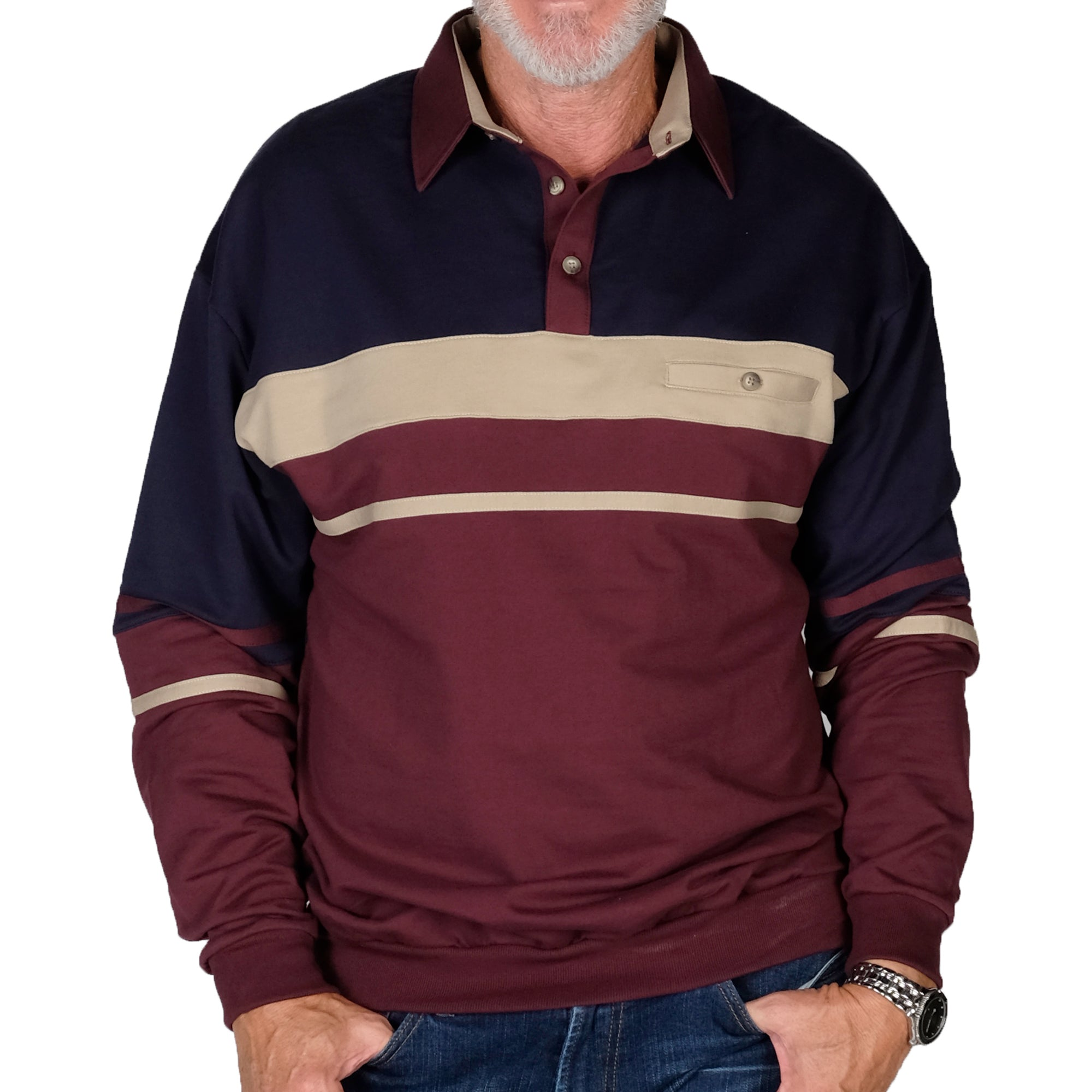 Classics By Palmland Horizontal Stripes Banded Bottom Shirt 6094-739 Burgundy - Big and Tall - theflagshirt