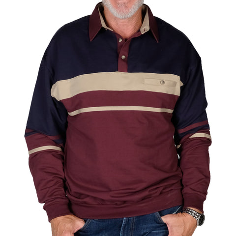 Classics By Palmland Horizontal Stripes Banded Bottom Shirt 6094-739 Burgundy - theflagshirt