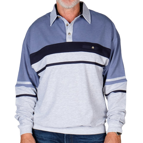 Classics By Palmland Horizontal Stripes Banded Bottom Shirt 6094-739 Grey Ht - theflagshirt