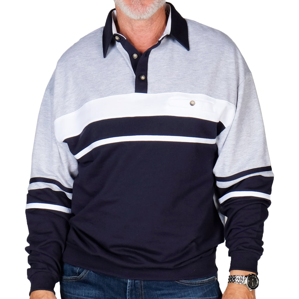 Classics By Palmland Horizontal Stripes Banded Bottom Shirt 6094-739 Navy - Big and Tall - bandedbottom