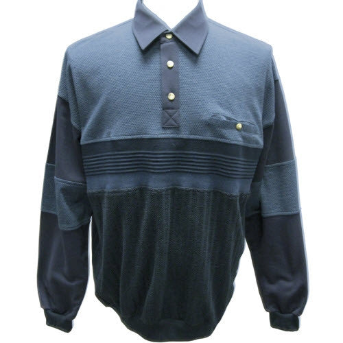 Palmland French Terry Long Sleeve Banded Bottom Polo Shirt - 6094-760 - bandedbottom