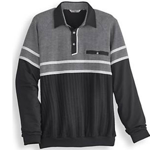 Palmland Long Sleeve French Terry Banded Bottom Polo Shirt - 6094-903 Black - bandedbottom