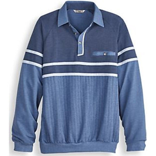 Palmland Long Sleeve French Terry Banded Bottom Polo Shirt - 6094-903 Blue - bandedbottom