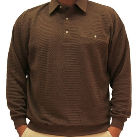 LD Sport Solid Textured Long Sleeve Banded Bottom Shirt - 6094-950 - Brown - bandedbottom