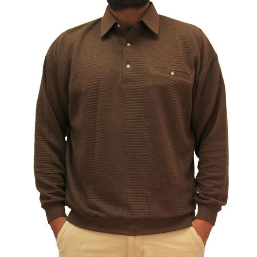 LD Sport Solid Textured Long Sleeve Banded Bottom Shirt- 6094-950 - Brown - Big and Tall - bandedbottom