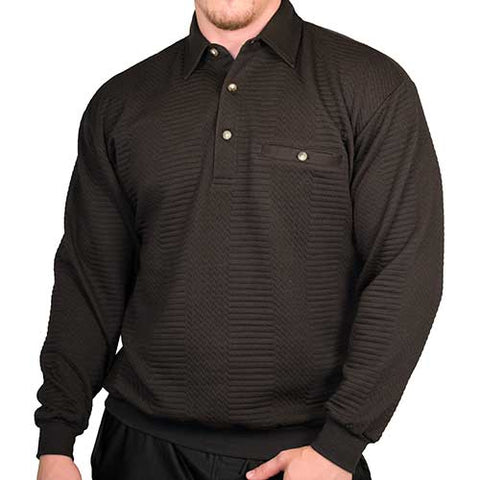 LD Sport Solid Textured Long Sleeve Banded Bottom Shirt - 6094-950 - Black- Big and Tall - bandedbottom