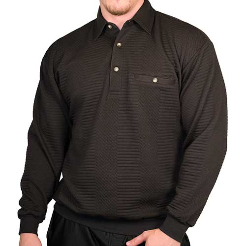 LD Sport Solid Textured Long Sleeve Banded Bottom Shirt 6094-950 Black - theflagshirt