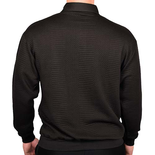 LD Sport Solid Textured Long Sleeve Banded Bottom Shirt - 6094-950 - Black- Big and Tall - theflagshirt