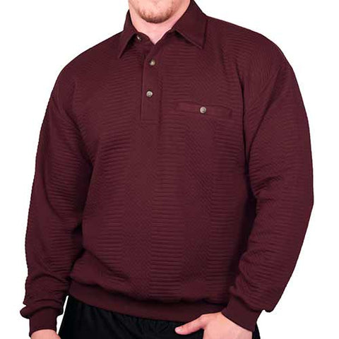 LD Sport Solid Textured Long Sleeve Banded Bottom Shirt - 6094-950 - Burgundy - Big and Tall - bandedbottom