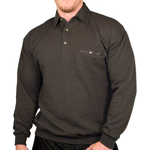 LD Sport Solid Textured Long Sleeve Banded Bottom Shirt - 6094-950 - Char - bandedbottom