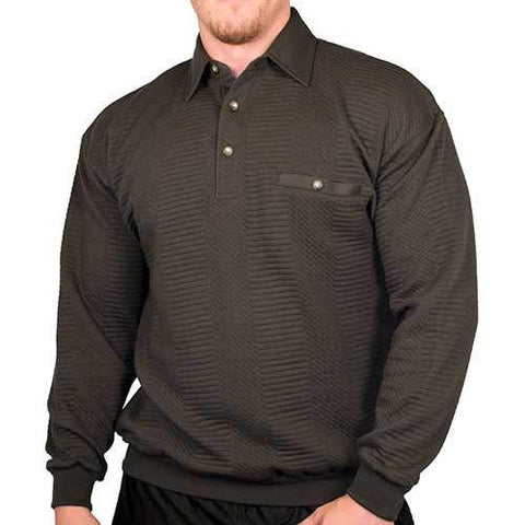 LD Sport Solid Textured Long Sleeve Banded Bottom Shirt - 6094-950 - Charcoal - Big and Tall - bandedbottom