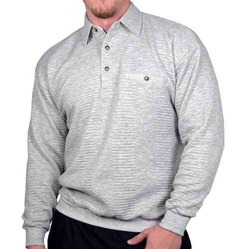 LD Sport Solid Textured Long Sleeve Banded Bottom Shirt 6094-950 Grey Heather
