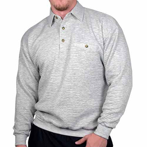 LD Sport Solid Textured Long Sleeve Banded Bottom Shirt 6094-950 Grey Heather - theflagshirt