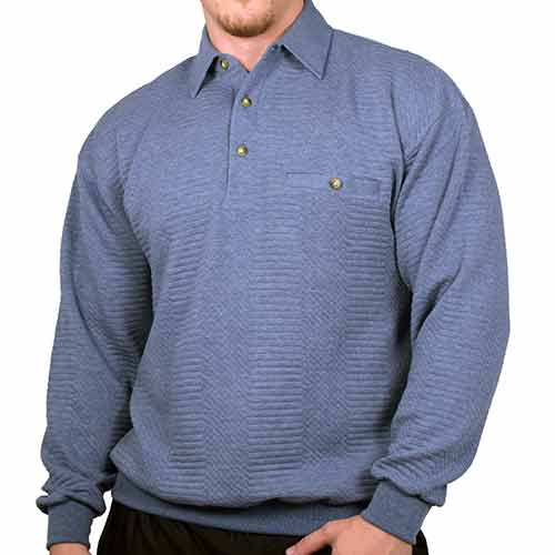 LD Sport Solid Textured Long Sleeve Banded Bottom Shirt - 6094-950 - Blue Heather - theflagshirt