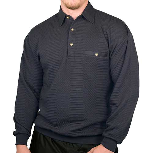 LD Sport Solid Textured Long Sleeve Banded Bottom Shirt - 6094-950 - Navy