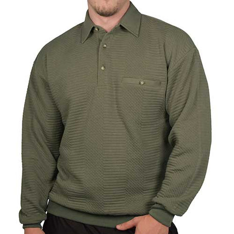 LD Sport Solid Textured Long Sleeve Banded Bottom Shirt - 6094-950 - Olive - Big and Tall - bandedbottom
