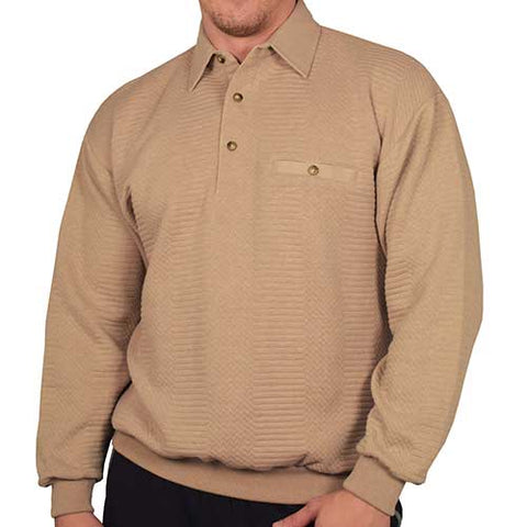 LD Sport L/S Solid Textured Banded Bottom - 6094-950 - Taupe - theflagshirt