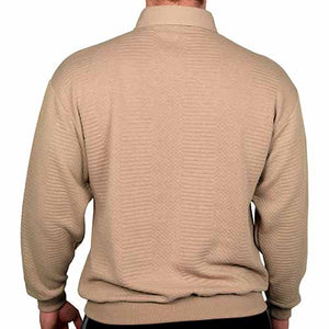 LD Sport L/S Solid Textured Banded Bottom - 6094-950 - Taupe - Big and Tall - theflagshirt