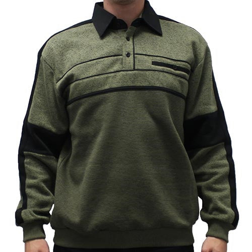 Classics by Palmland L/S Two Tone Banded Bottom Shirt 6094-BL14-Olive - theflagshirt