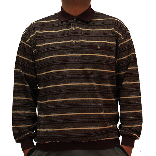 LD Sport Jacquard Long Sleeve Banded Bottom Polo Shirt - 6096-206B Burgundy - bandedbottom