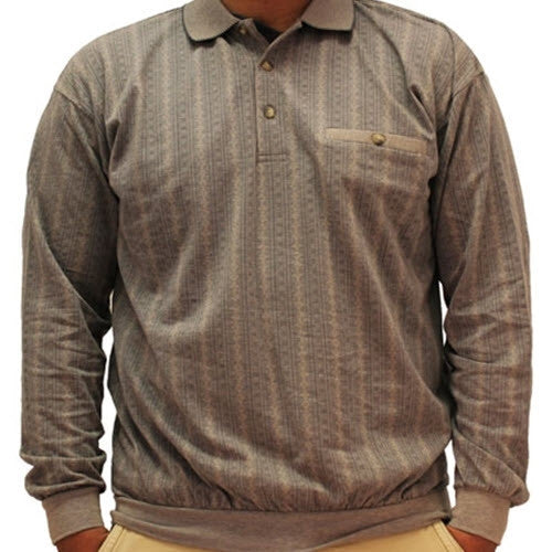 LD Sport Jacquard Long Sleeve Banded Bottom Shirt - 6096-352BT Khaki Big and Tall - theflagshirt
