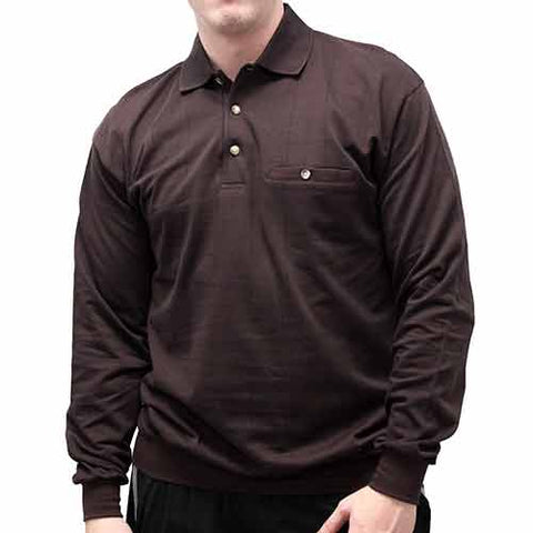LD Sport Jacquard Long Sleeve Banded Bottom Shirt 6096-500 Big and Tall Brown - bandedbottom